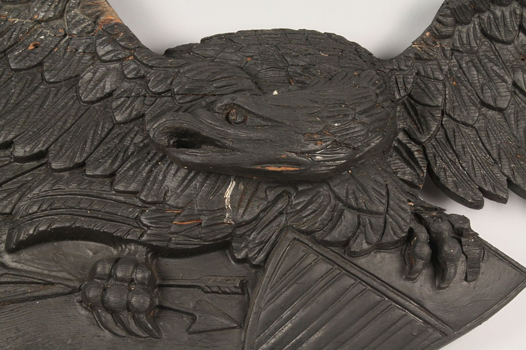 Lot 183: American Carved Pine Wooden Eagle