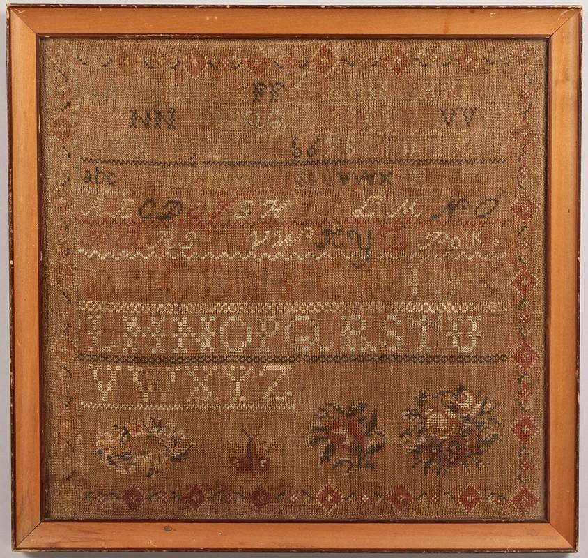 Lot 189: 1844 Tennessee Needlework Sampler, Polk