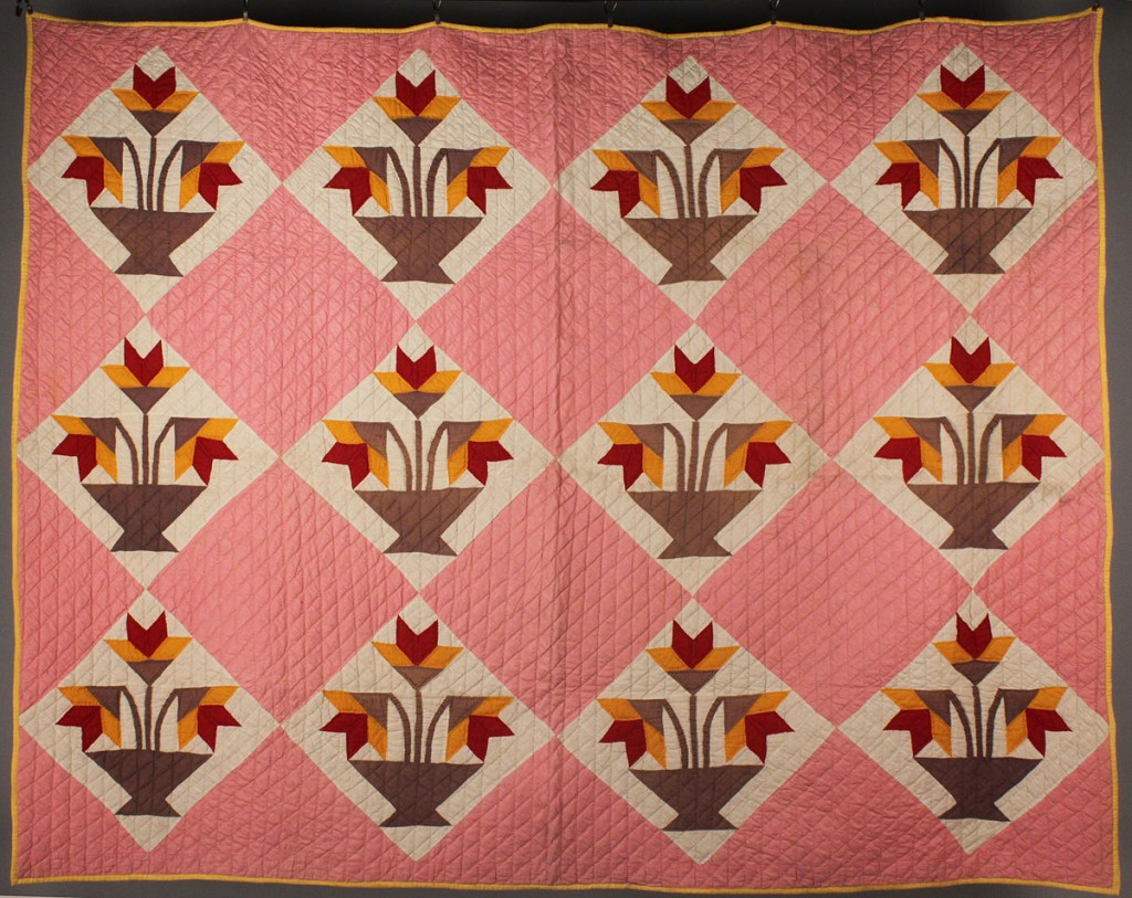 Lot 190: East TN Pieced & Appliqued Quilt, NC Lily Pattern variant