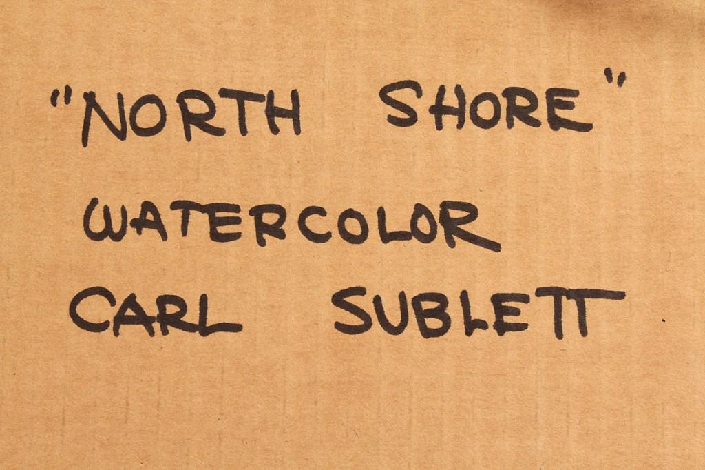 "Lot 192: Carl Sublett Watercolor titled ""North Shore"""
