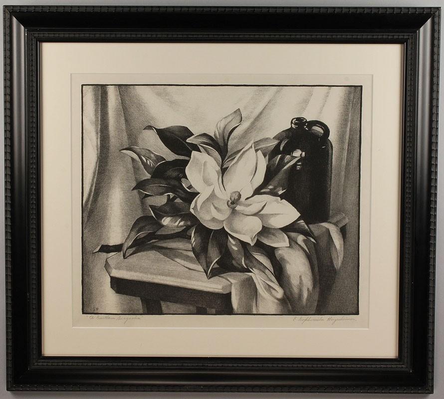 Lot 197: Ella Sophonisba Hergesheimer etching, Southern Magnolia