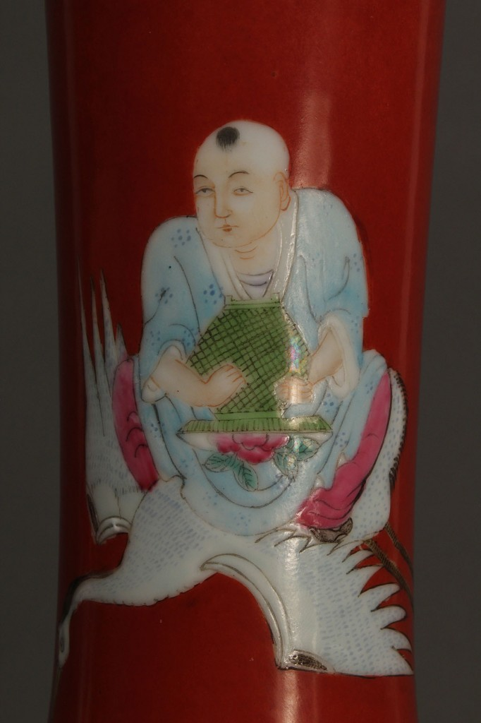 Lot 19: Pair Chinese Famille Rose Vases