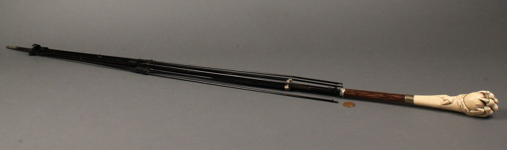 Lot 1: Umbrella with Ivory and rosewood handle