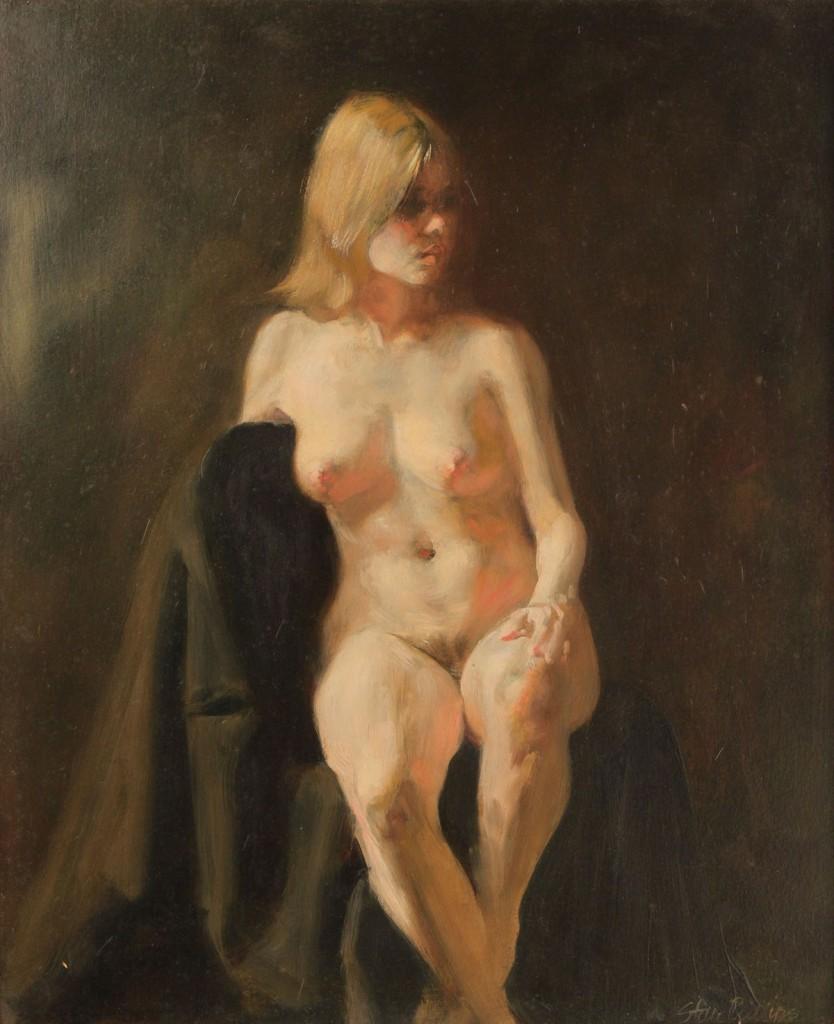 "Lot 202: Stan Phillips Oil on Panel, ""Nude"""