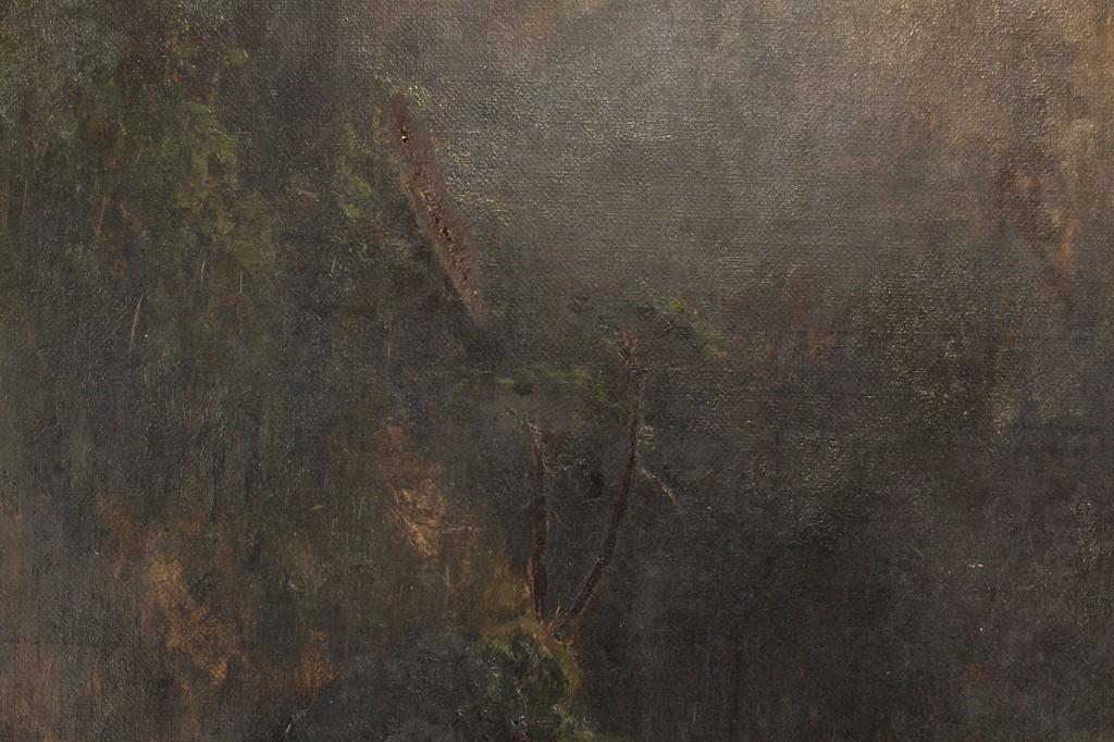 Lot 204: John J. Barber, oil on canvas, Landscape w/ Fisherman
