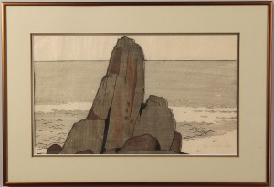 "Lot 206:  Bror Julius Olsson Nordfeldt Colored Woodcut, ""The Rock, Nahant"""