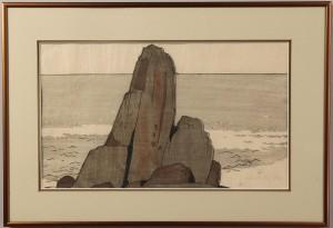"Lot 206:  Bror Julius Olsson Nordfeldt Colored Woodcut, ""The Rock, Nahant"""