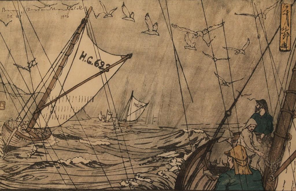 "Lot 207:  Bror Julius Olsson Nordfeldt Colored Woodcut, ""North Sea Fisherman"""