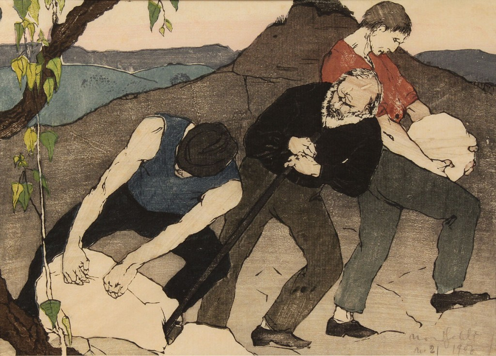 "Lot 208:  Bror Julius Olsson Nordfeldt Woodcut, ""The Quarry"""