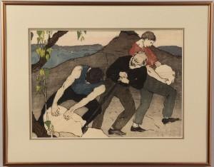 """Lot 208:  Bror Julius Olsson Nordfeldt Woodcut, """"The Quarry"""" - Image 2"""