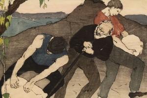 """Lot 208:  Bror Julius Olsson Nordfeldt Woodcut, """"The Quarry"""" - Image 3"""