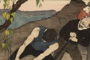 """Lot 208:  Bror Julius Olsson Nordfeldt Woodcut, """"The Quarry"""" - Image 4"""