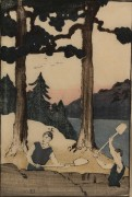 "Lot 209:  Bror Julius Olsson Nordfeldt Woodcut, ""Two Men Digging in Woods"""
