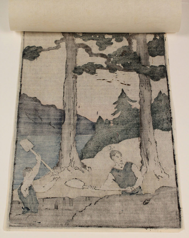 "Lot 209:  Bror Julius Olsson Nordfeldt Woodcut, ""Two Men Digging in Woods"""