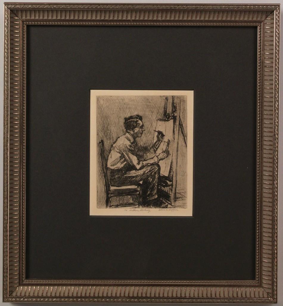 "Lot 210: Edward Hopper Etching, ""The Illustrator"""