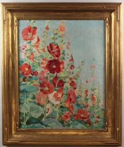 "Lot 212: J. Winthrop Andrews oil on canvas, ""Hollyhocks"""