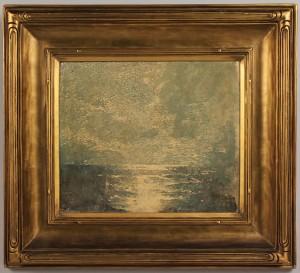 Lot 213: Emil Carlsen Oil on Board, Moonlit Seascape