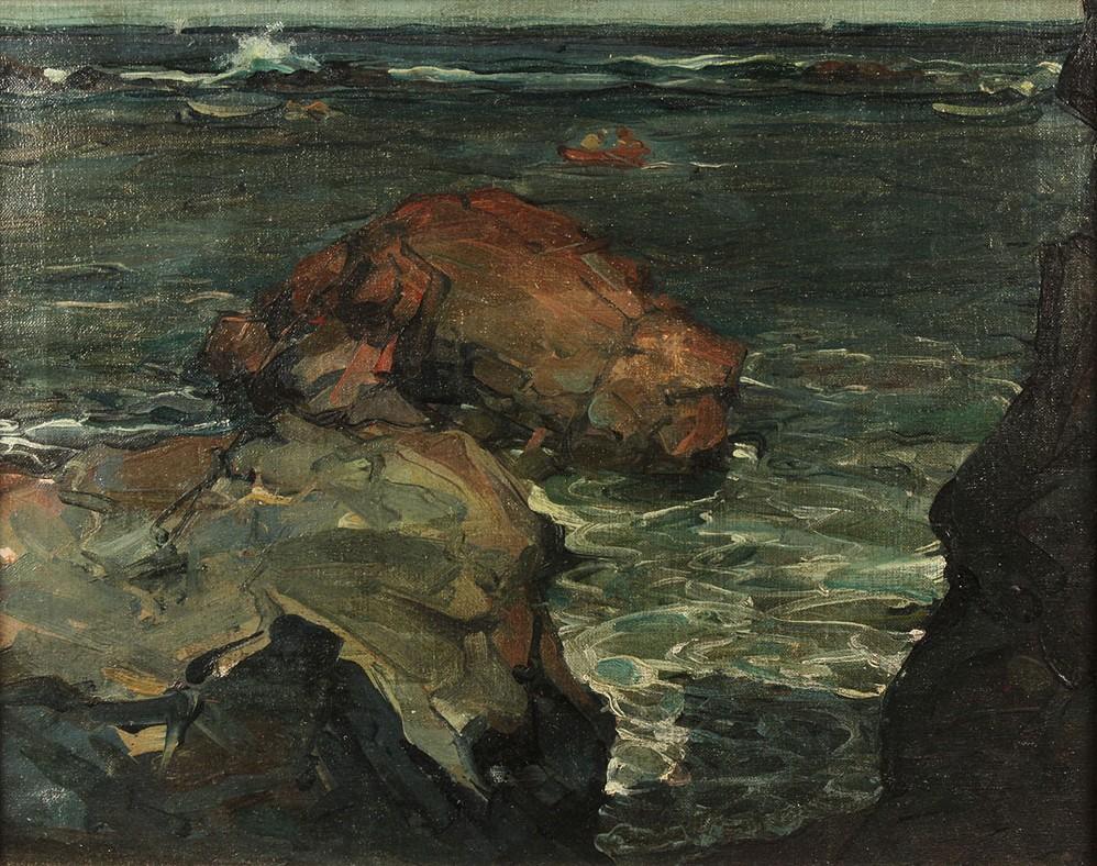 """Lot 214: Harold Betts seascape, """"November Morning, Coast of Maine"""""""