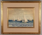 Lot 215: Large Julius Delbos watercolor, Sailing Scene