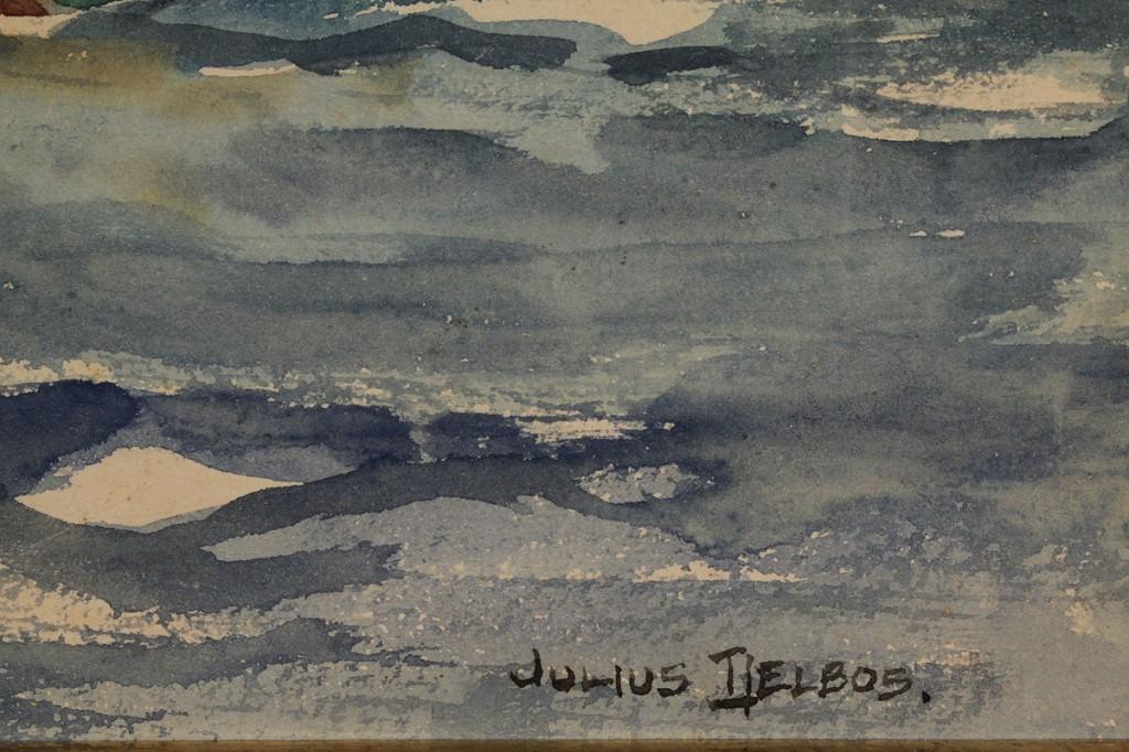 Lot 215: Large Julius Delbos watercolor, Sailing Scene