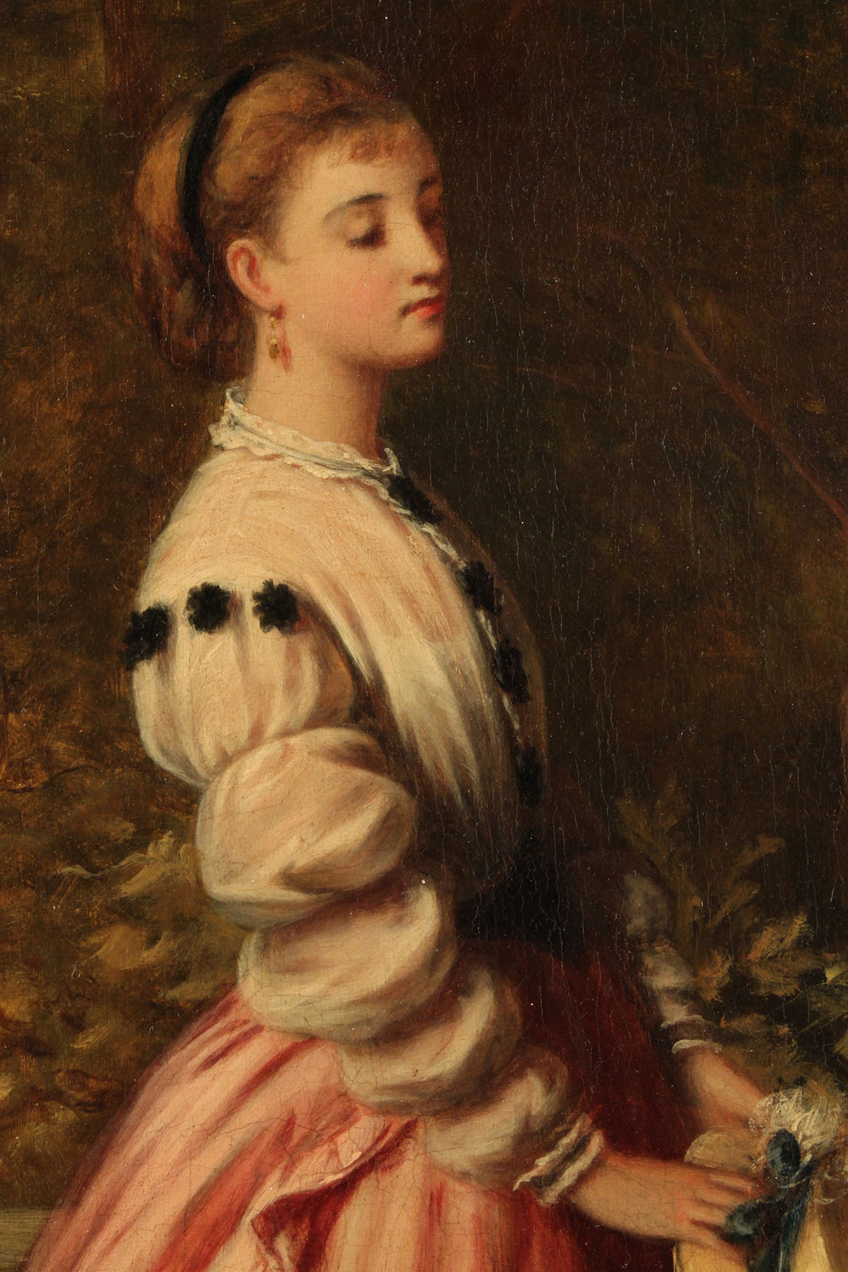 Lot 221 J H S Mann 19th C Oil Young Lady In Garden