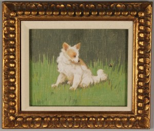Lot 222: Gabriella Rainer – Istavanny oil on linen, dog and bee