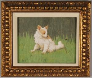 Lot 222: Gabriella Rainer – Istavanny oil on linen, dog and bee