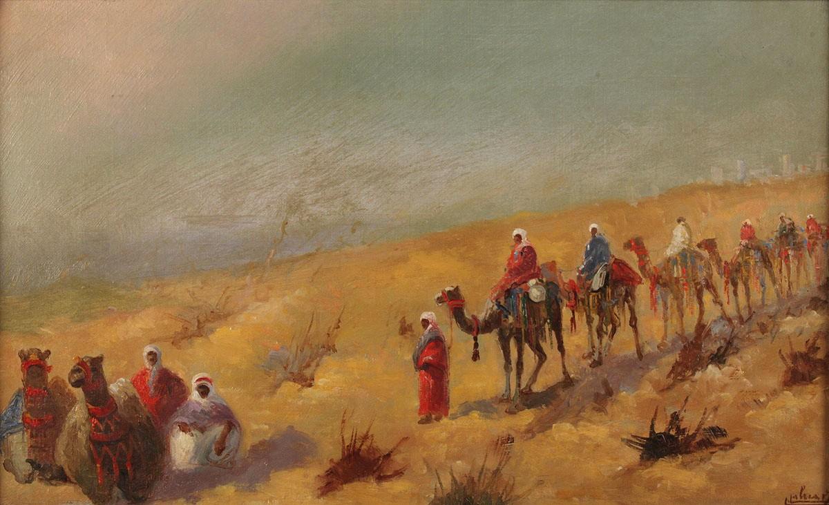 Lot 224 Orientalist Painting Desert Landscape With Caravan
