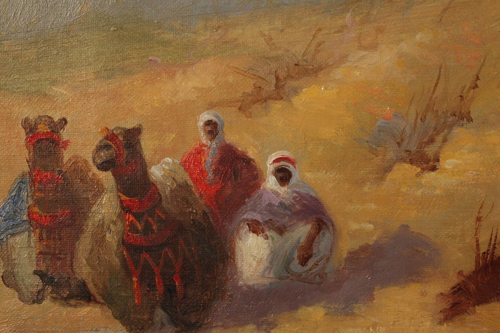 Lot 224: Orientalist painting, desert landscape with caravan