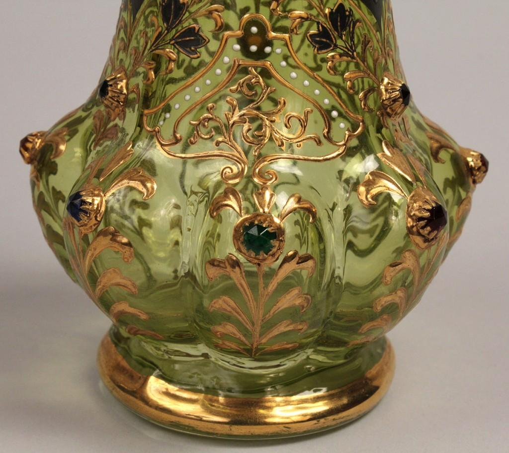 Lot 232: Jeweled Art Glass Vase attr. Moser