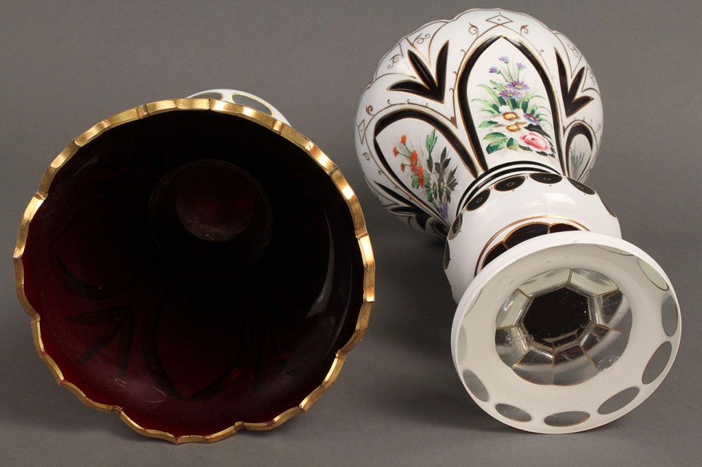 Lot 235: Pair of Bohemian Overlay Mantle Vases