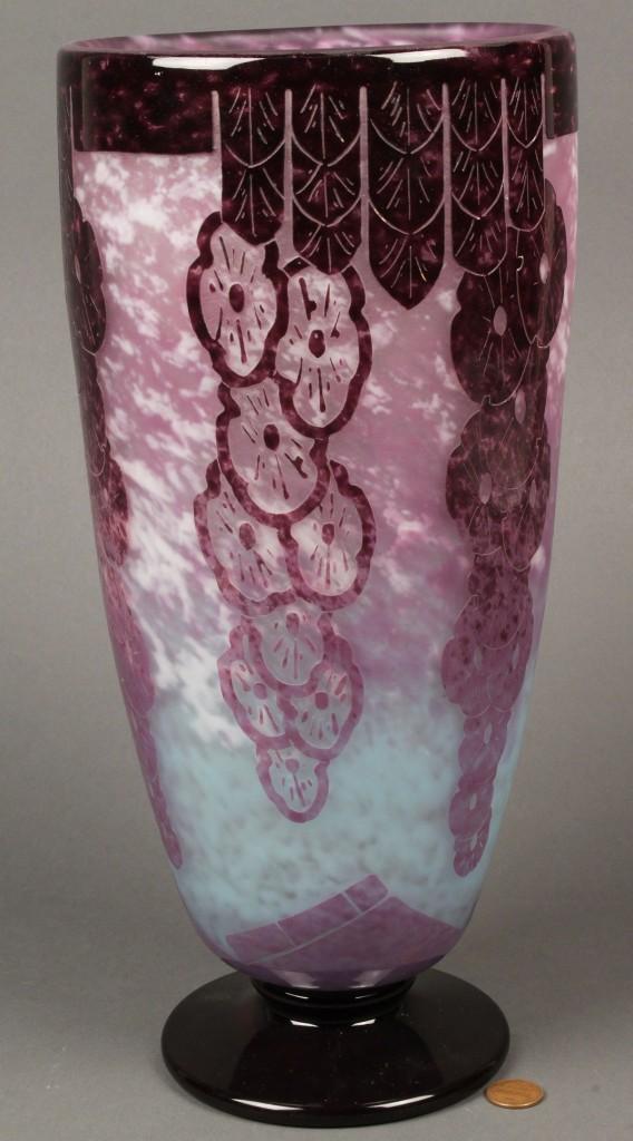"Lot 236: Charder Art Deco Cameo Glass Vase, 13"""