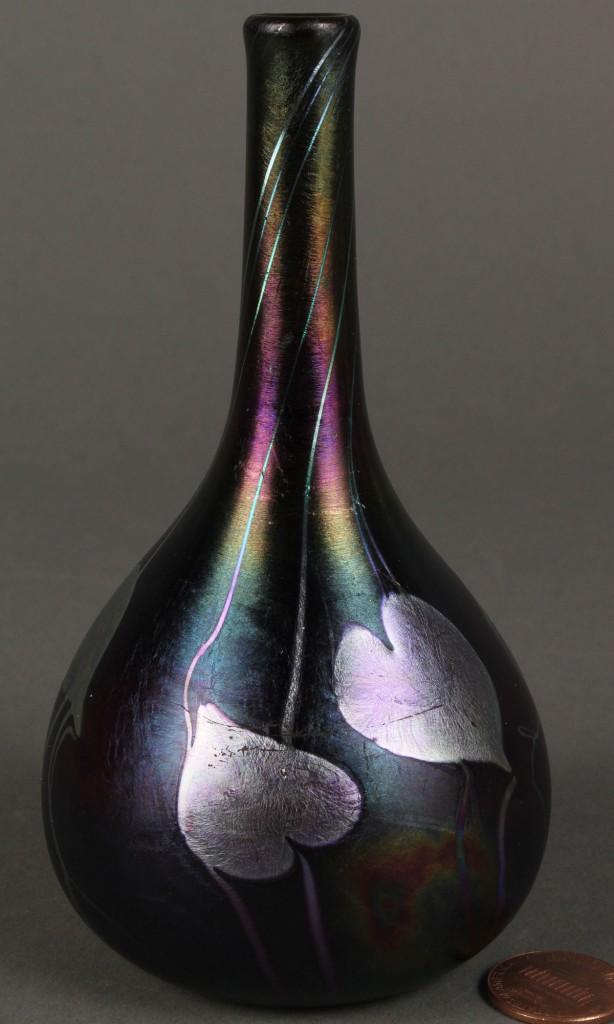Lot 237: Signed Quezal, NY Vine Vase