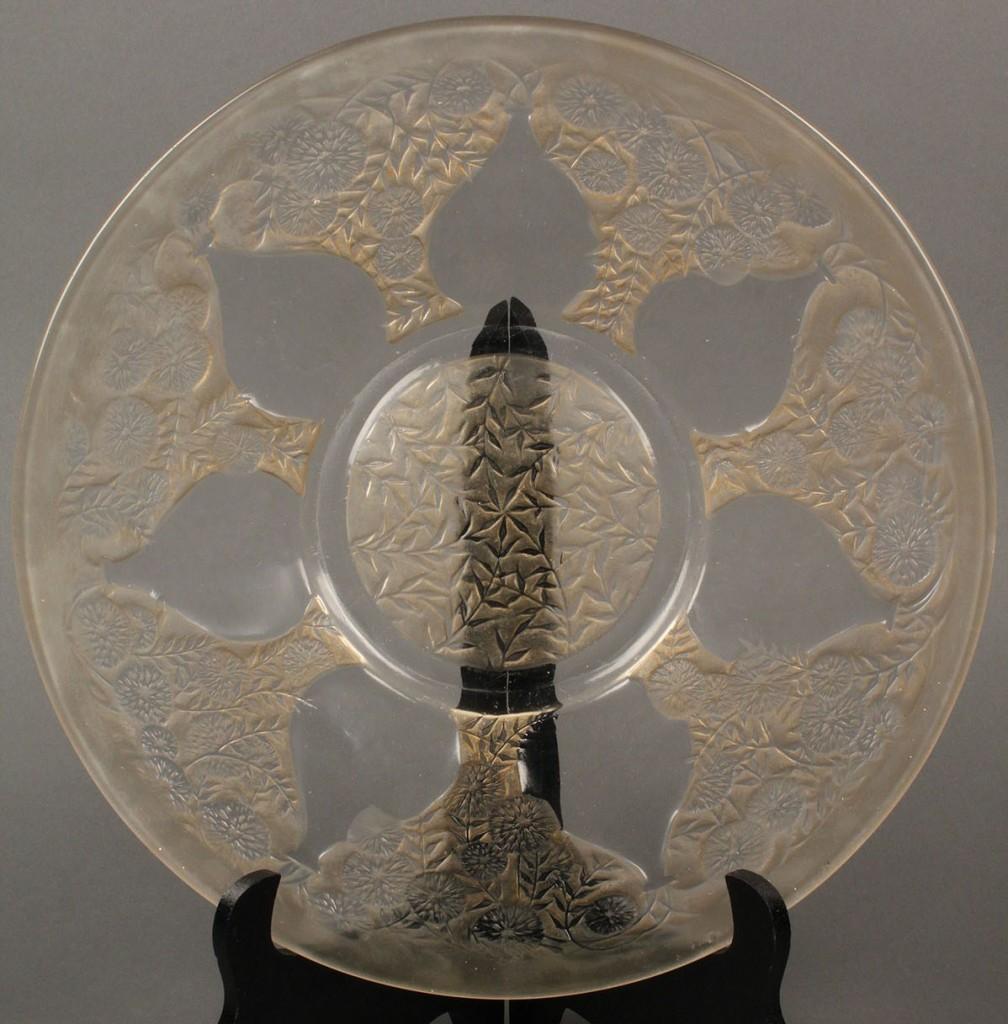 "Lot 240: Lalique sepia patina platter, ""Vases"" pattern"