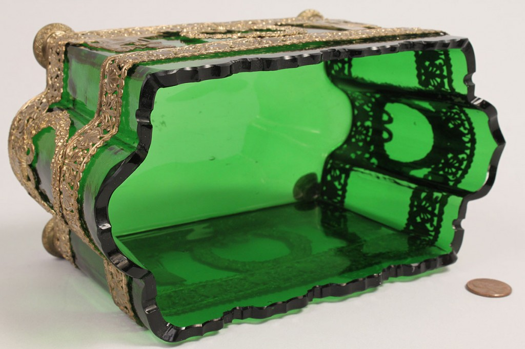 Lot 243: Neo-classical Green Glass Cachepot in Brass Container