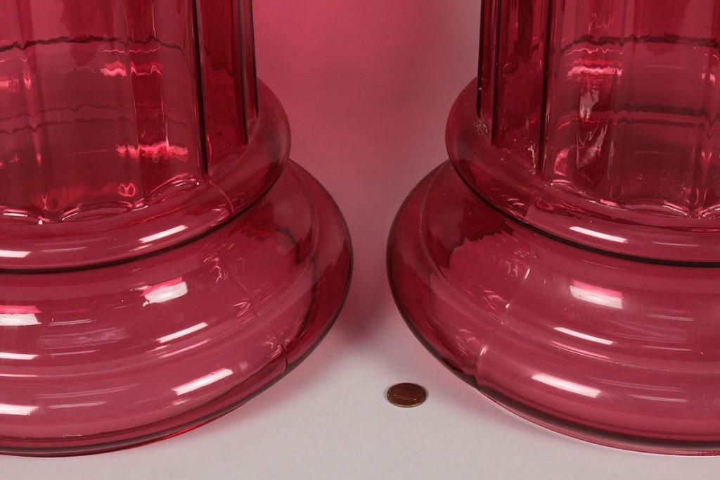 Lot 244: Pair of Cranberry Glass Pedestals