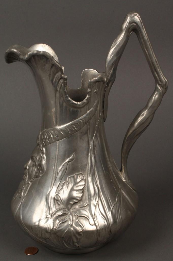 Lot 245: Kayserzinn Art Nouveau Pewter Pitcher