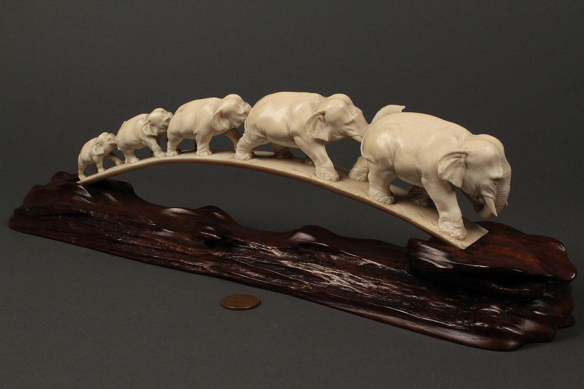 Lot 246: Chinese ivory elephant bridge  Lot 246: Chines...