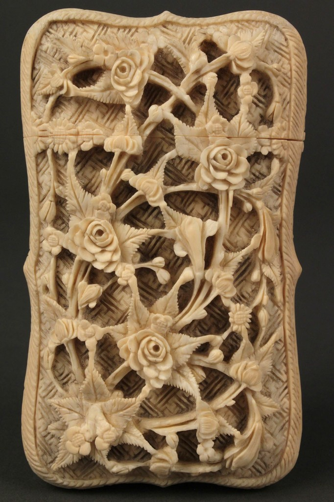 Lot 247: Chinese carved ivory card case