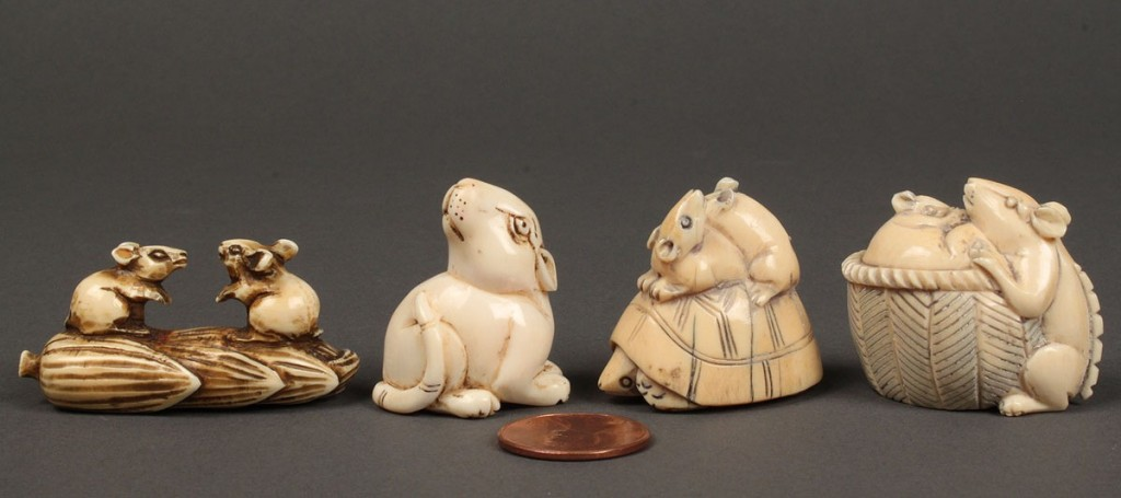 Lot 249: Lot of 4 Carved Ivory Netsukes