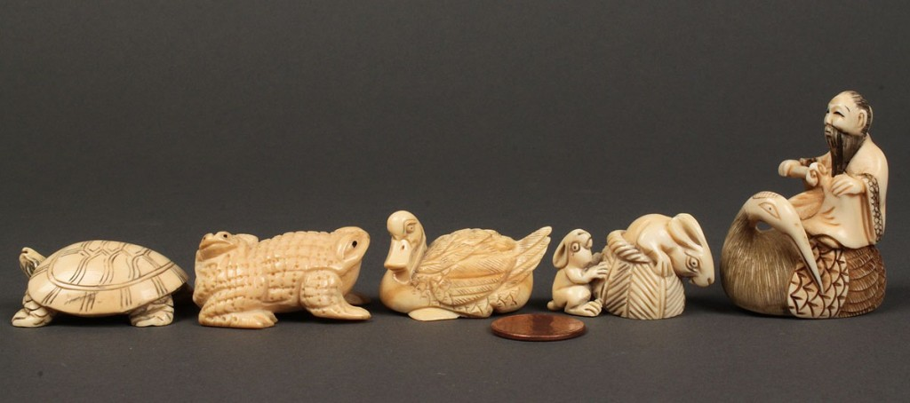 Lot 250: Lot of 5 Carved Ivory Netsukes