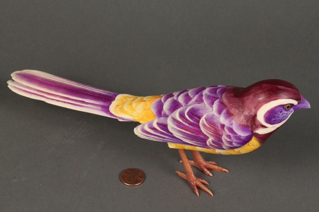 Lot 251: One Japanese Okimono Carved & Colored Ivory Bird
