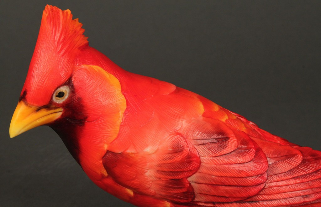 Lot 252: One Japanese Okimono Carved & Colored Ivory Bird