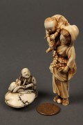 Lot 254: Lot of 2 ivory netsuke, man w/ octopus and woman w/ child