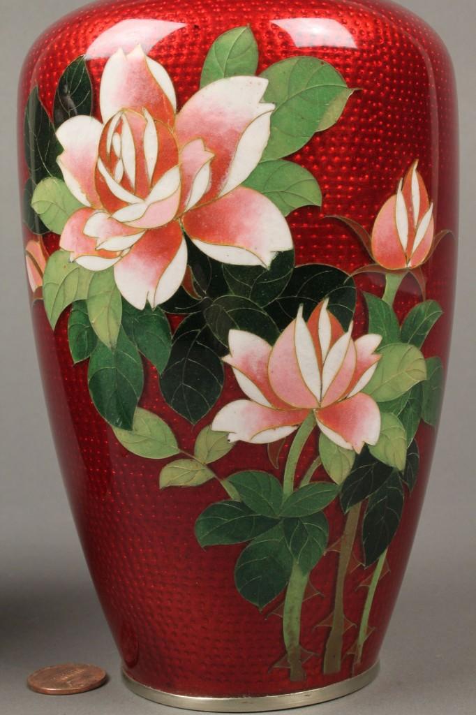 "Lot 259: Pair of ""pigeon blood"" cloisonne vases"