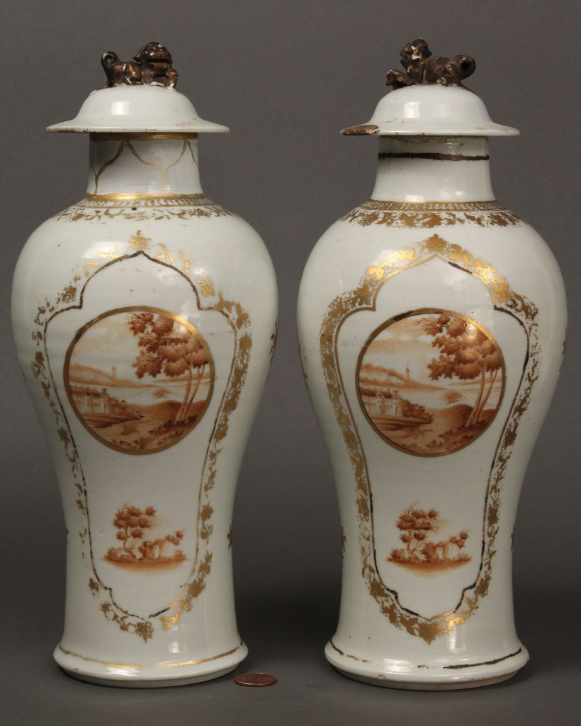Lot 260: Pair of Chinese Export Baluster Vases
