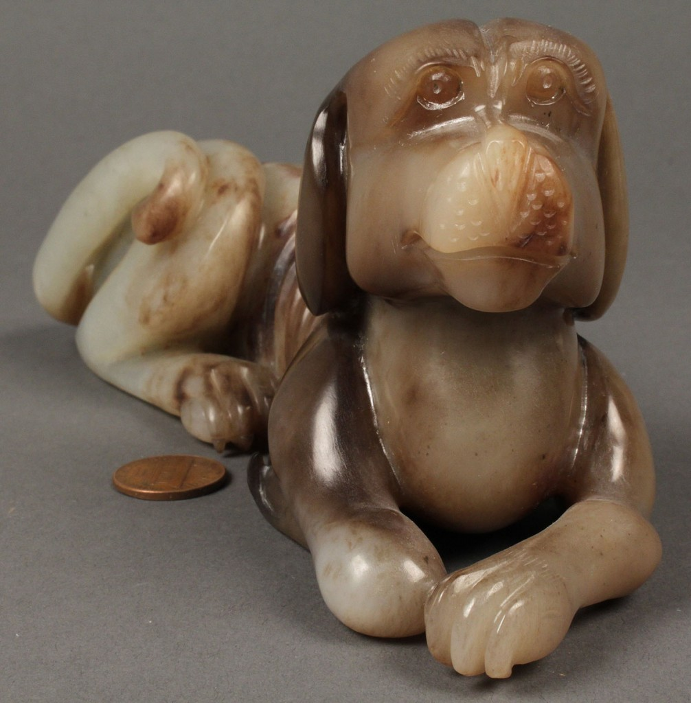 Lot 264: Chinese carved jade dog