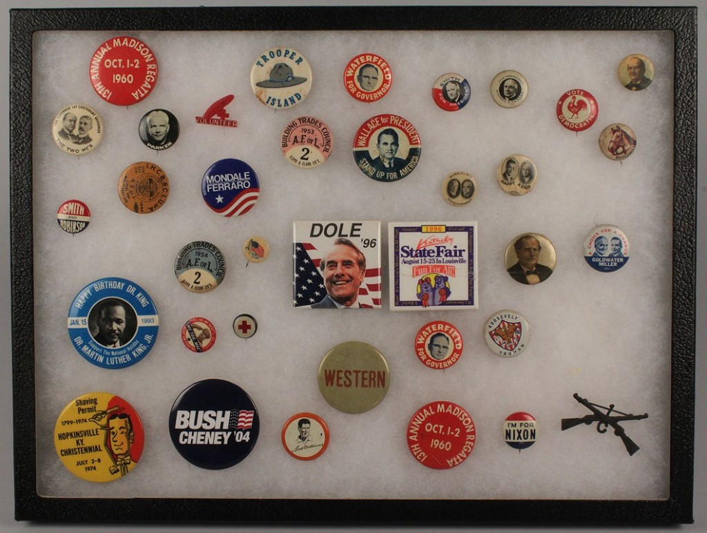 Lot 271: Collection of 36 political buttons and pins
