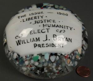 Lot 272: Glass Political Paperweight, Wm. Jennings Bryan