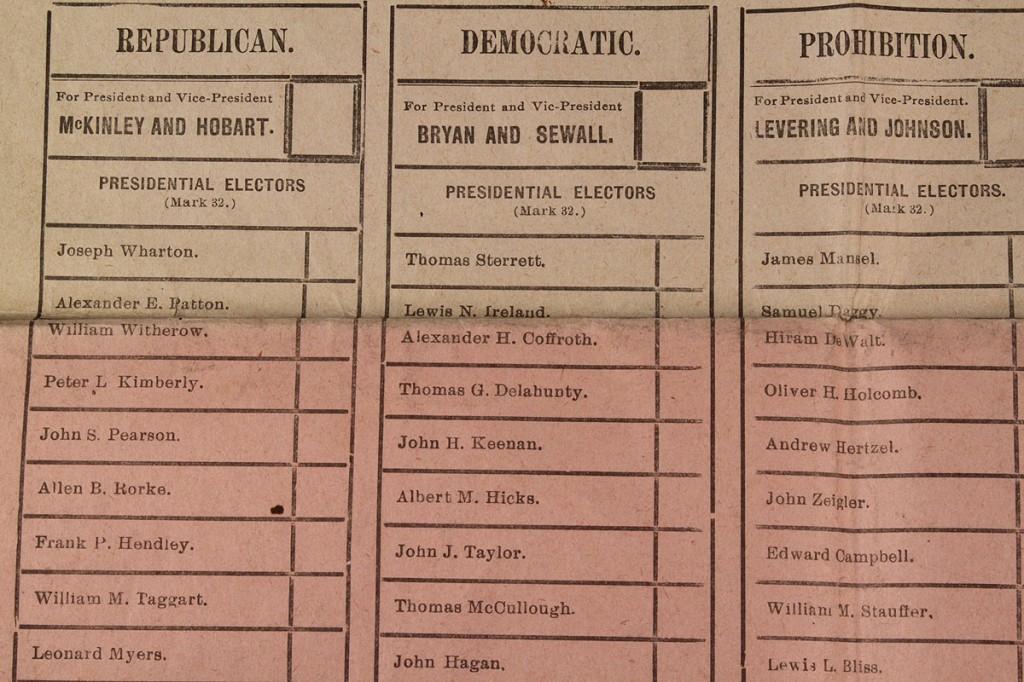 Lot 273: 1896 U.S. Presidential Ballot (McKinley v. Bryan)